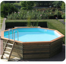Wooden swimming pool STAVANGER octagonal shaped