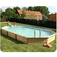 Wooden swimming pool STAVANGER oval shaped