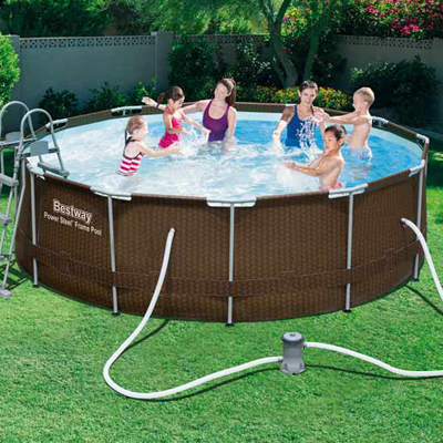 round Bestway WICKER above-ground tubular pool