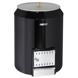 Harvia 80L wood burning stove with integrated water heater