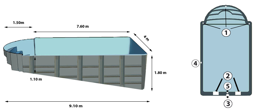 BARLAVENTO polyester shell pool profile and above view