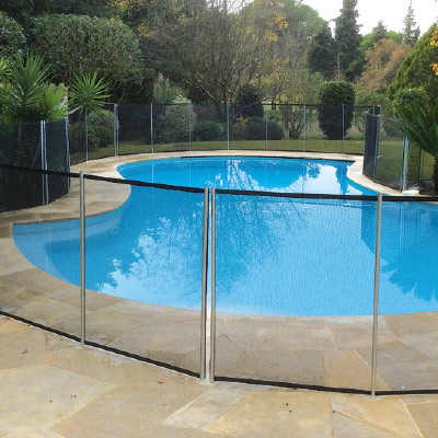 Swimming pool security barriers and fences