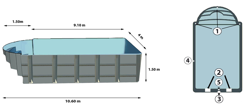 Bequia polyester shell pool   above and profile view