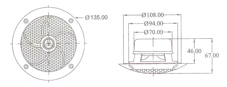 Dimensions of audio speaker for hammam and sauna