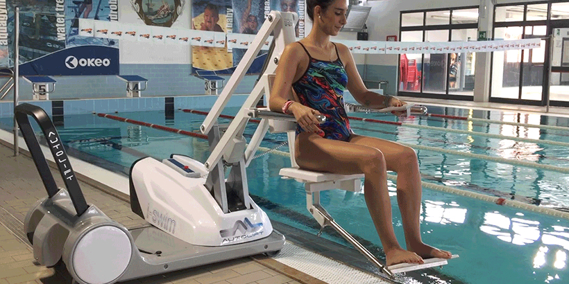 I Swim 2 mobile seated pool lift for disabled pool access