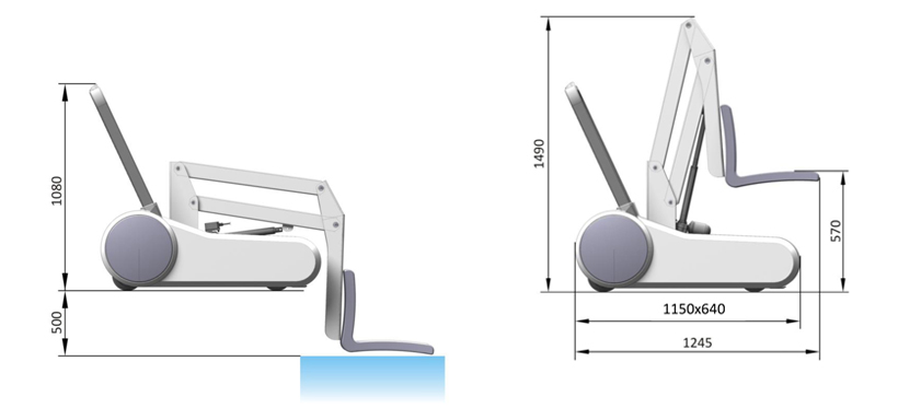 Dimensions of i swim chair lift