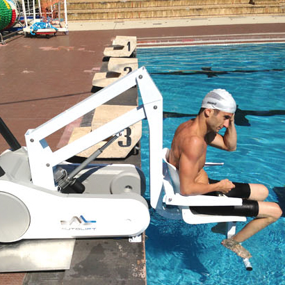 Water entry using i swim chair lift for disabled pool access