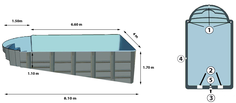 Padang polyester shell profile and above view