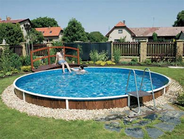 AZURO DE LUXE above ground steel pool   semi inground installation