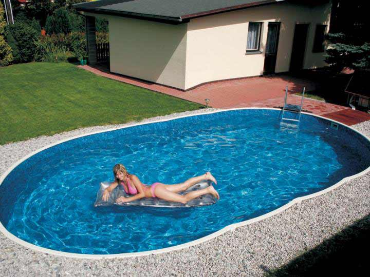 AZURO DE LUXE above ground steel pool in ground