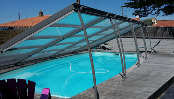 Celeste flat pool enclosure fully open using supporting legs