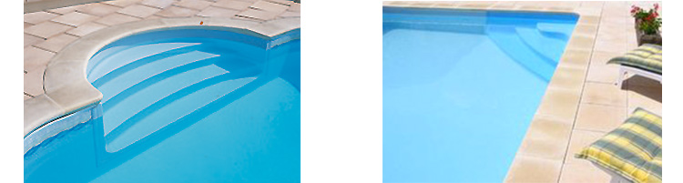 Acrylic stairs, two available models Recypool inground pool kit made from recycled polyethylene