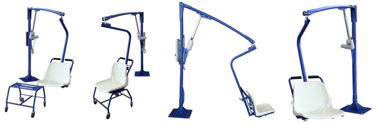 Various position of the F145 removable chair lift