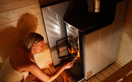 Harvia 20 Pro wood burning sauna stove in situ