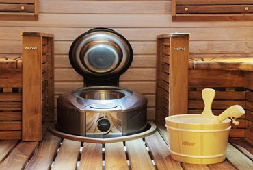 Harvia Forte integrated to sauna floor
