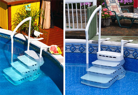 Aquarius removable pool steps 4 step model - Removable swimming pool handrails ...