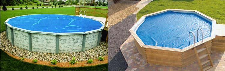 In situ bubble cover for above ground pools