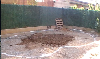 Excavation of pool cavity.
