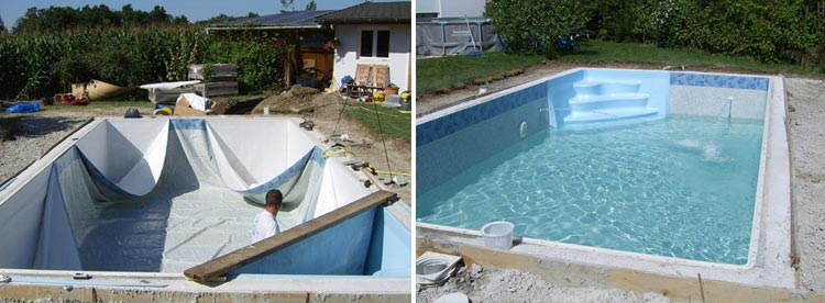 Installation liner and water fill Recypool inground pool kit made from recycled polyethylene