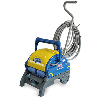 Aquabot Viva electric pool cleaner on trolley
