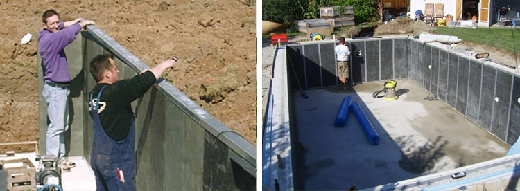 Installation panels Recypool inground pool kit made from recycled polyethylene