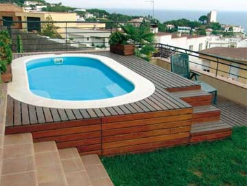 Fuerteventura polyester shell pool installed in deck