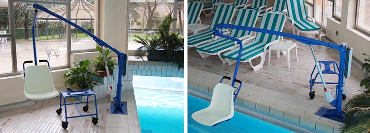 The F145B detachable chair lift for disabled pool access insitu