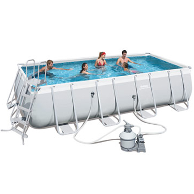 Rectangular Bestway POWER STEEL above ground pool with sand filtration