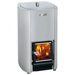 Harvia 50 litre wood burning stove with integrated water heater