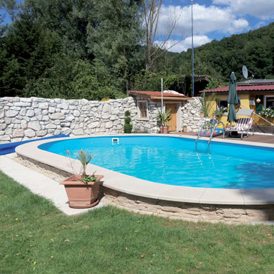 Mahogany in-ground zinc-plated steel sheet pool