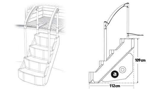 Schema Lumi O VOIE ROYALE removable pool steps