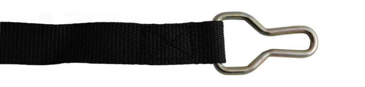 Strap with hem and hook system
