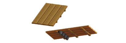Wooden duct board Roussillon 2 immersed pool shutter