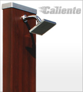 Solar shower CALIENTE Square Wood 28 L + water mist