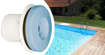 ASTRAL discharge nozzle in blue, liner and concrete pools