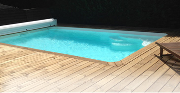 CANEA polyester shell pool 4,00 x 3,50 m, depth 1,50 m, flat floor without filtration